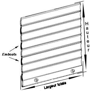 Dimensions tablier volet roulant aluminium